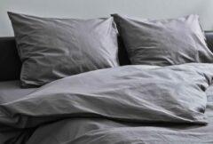 Donkergrijze Kepri Dekbedovertrek - Eenpersoons - Percale Katoen - Night Grey - Duurzaam - 400TC - 140 x 220 cm
