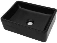 VidaXL Wastafel vierkant 41x30x12 cm keramiek zwart