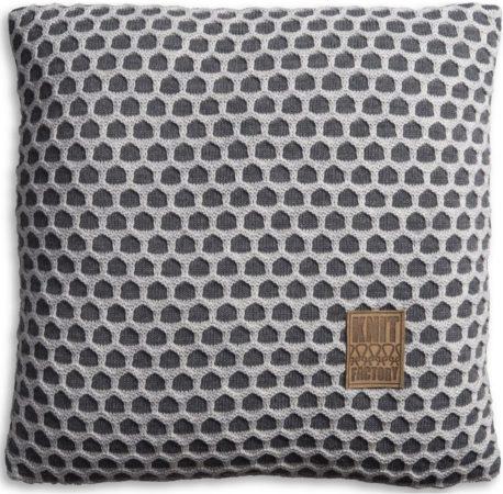 Afbeelding van Antraciet-grijze Knit Factory Knitfactory Mila - Sierkussen - 50x50 cm - Antraciet/L. Grijs