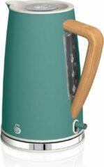 Groene Retro waterkoker in stijlvolle grijze kleur uit de Swan Nordic collectie