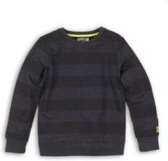 Marineblauwe DJ Dutchjeans Jongens Sweater - Faded navy + stripe - Maat 140