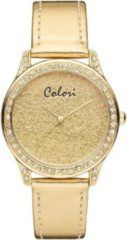 Colori Supreme 5-COL380 - Horloge - leren band - goudkleurig - Ø37 mm