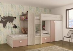 Roze Baby & Tiener Collection Stapelbed Maxim - Antique Pink