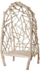 Witte Cozy Ibiza - Teak stoel cocon