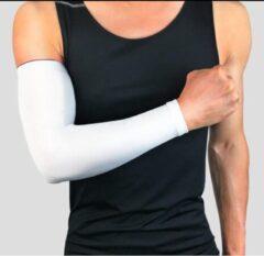CLIKS Set fiets armwarmers ( 2 stuks ) – Wit - armstukken – cycling arm sleeves – armbeschermers – sport armmouwen - Maat XL