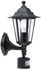 EGLO Laterna 4 - Buitenverlichting - Wandlamp Met Sensor - 1 Lichts - Zwart