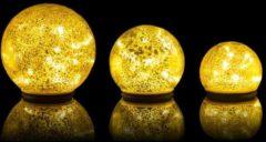 Lumesso 3 LED-Outdoor-Glaskugeln Crackle-Optik
