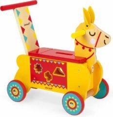 Gele Janod Lama houten loopwagen