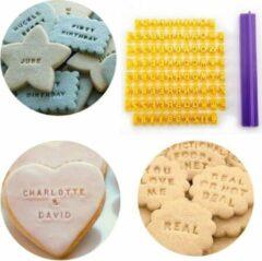 Paarse WiseGoods Luxe Koekjes Alfabet Stempel - Alfabet / Nummers - Cookie Pers - Fondant Stempel - Cake / Bakken Gereedschap Tools