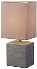 Trio Leuchten Ping tafellamp | met stenen voet | 29 cm hoog | snoerschakelaar | E14 | lavendelgrijs