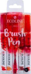Rode Koninklijke Talens B.V Talens Ecoline 5 brush pens ''Red''