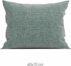 Linnenlook 2x Luxe Linenlook Kussenslopen Medium Groen | 60x70 | Fijn Geweven | Zacht En Ademend