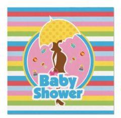Folat 20x Babyshower Feest Servetten Gekleurd 25 X 25 Cm Papier - Babyshower Papieren Wegwerp Tafeldecoraties