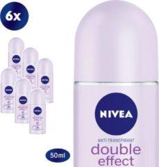 NIVEA Double Effect Deodorant Roller - 6 x 50 ml - Voordeelverpakking