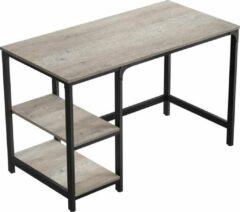 Grijze Acaza Stevig Bureau - Computertafel met extra schappen - Kantoormeubel van 120x60x75 cm - Industriële look - Zwart Metaal / Greige Hout