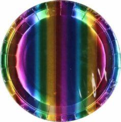 Stemen Kartonnen Bordjes regenboog 23cm 8 st - Wegwerp borden - Feest/verjaardag/BBQ borden