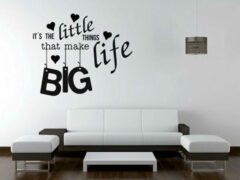 Kimano Muurtekst Big Life in zwart vinyl 60 x 49 cm