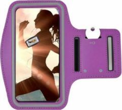 Samsung Galaxy A41 Sportband hoes sport armband hoesje Hardloopband Paars Pearlycase
