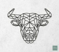 Laserfabrique Wanddecoratie - Geometrische Stier - Zwart - 52cm - Houten Dieren - Muurdecoratie - Line art - Wall art