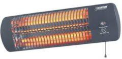 Zwarte Euromac Eurom Q-time 1500 Terrasverwarmer - elektrisch - hangend - 3 warmtestanden - tot 1500 W