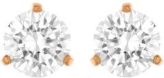 Swarovski Solitaire Pierced Earrings, White, Rose Gold Plating White Rose gold-plated