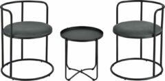 En.casa Salontafel Alvkarleby met 2 stoelen 3-delig zwart