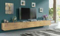 Pro-meubels - Zwevend Tv-meubel - Tv kast - Tunis - Eiken - 300cm 3x100cm