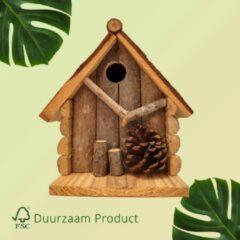 Bruine Duurzaam Vogelhuisje opening van 27 mm Vogel Huisje met Dennenappel | GerichteKeuze