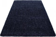 Marineblauwe Himalaya Basic Shaggy vloerkleed Donker Blauw Hoogpolig - 240x340 CM