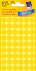 Avery Etiket Zweckform 12mm rond 5 vel a 54 etiketjes geel