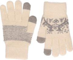 Merkloos / Sans marque Gebreide winter handschoenen Nordic/wit voor dames met teddy voering