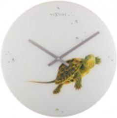 Groene NeXtime Turtle - Klok - Rond - Glas - Ø43 cm - Wit/Groen