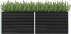 Grijze VidaXL Plantenbak 240x80x77 cm gegalvaniseerd staal antraciet (incl. Werkhandschoenen)