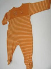 Oranje Petit bateau , pyjama , katoen , orange, streepje , 3 maand 60