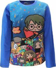 Harry Potter Harry Potter Chibi Print Longsleeve T-Shirt Kids Blauw Unisex T-shirt Maat 116