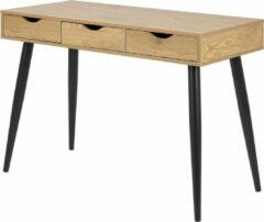 Naturelkleurige Lisomme Keet houten bureau - 3 lades - Naturel