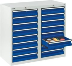 Stumpf Metall Stumpf® STS 410 Schubladenschrank mit 16 Schubladen, lichtgrau / blau - 90 x 100 x 50 cm