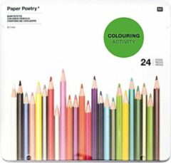 Merkloos / Sans marque 24x FSC kleur potloden in metalen doos - Tekenpotloden in blik - Duurzaam teken/hobby materiaal