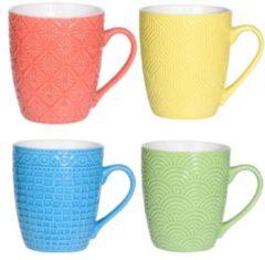 Orange85 Porselein - mokken - 4 stuks - 380 ml - Thee mokken - Thee glazen met oor - Gekleurde kopjes - Theeglazen - 4 verschillende soorten printjes - Groen - Geel - Blauw - Rood