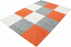Decor24-AY Hoogpolig vloerkleed Life - oranje, grijs - wit - 60x110 cm