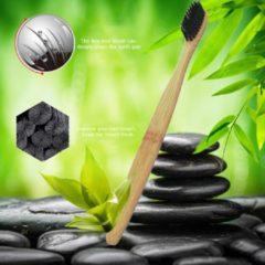 Zwarte 4x Bamboe tandenborstel - haren met houtskool