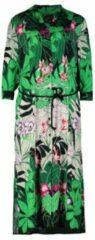 Turquoise Claudia Sträter Maxi blousejurk met bladprint en strikceintuur