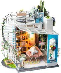 Robotime modelbouw Miniatuur bouwpakket Dora's Loft hout/papier/kunststof - 230mm hoog x 210mm breed x 160mm diep - met lampje
