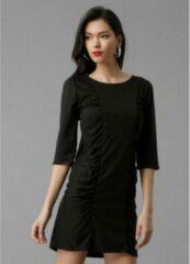 Merkloos / Sans marque La Pèra Zwarte getailleerde jurk Zakelijke jurk met kokerrok Dames - Maat S
