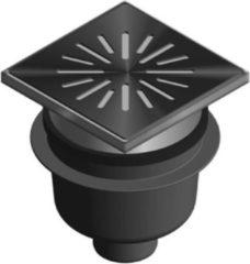Zilveren Aquaberg kunststof put/opzetstuk met onderaansluiting 75mm RVS rooster verstelbaar 20x20cm met PPC emmer reukslot 60mm 6320
