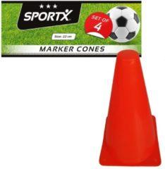 Merkloos / Sans marque Sport/ taining voetbal pionnen oranje 22 cm - 4 stuks - Sport - veldsporten - training pion/kegel/accessoire
