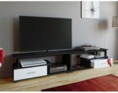 TV Lowboard Schrank Tisch Rack Fernsehschrank Fernsehtisch Möbel Bank Holz 'Rimini Maxi' VCM Schwarz / Weiß