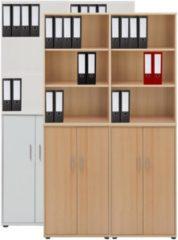 4-tlg Aktenregal Set Büro Schrank Regal Büroschrank Aktenschrank Sideboard Omegos 666 VCM Buche