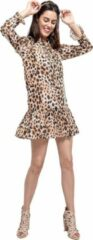 Beige Djsa fashion Jurk voor Dames   Mini-Wikkeljurk met luipaard -print   L
