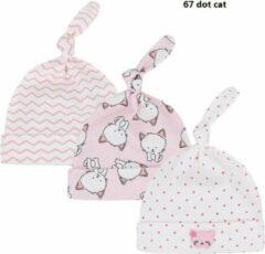 Roze JillyBee - Newborn - Mutsje - Mutsjes - 3pack - Poes - Poesjes - Stipjes - Meisje